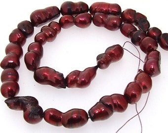 Red Wine Rice Cultured Pearl Gemstone Beads 8-18mm Strand