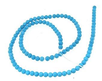 Round Blue Turquoise Gemstone 4mm Strand