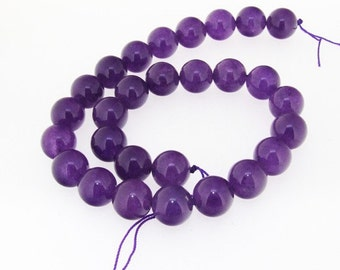 Round Amethyst Jade Gemstone Beads One Strand 14mm 16inch