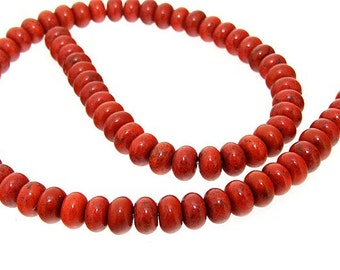 strand 8mm red  turquoise abacus gemstone beads