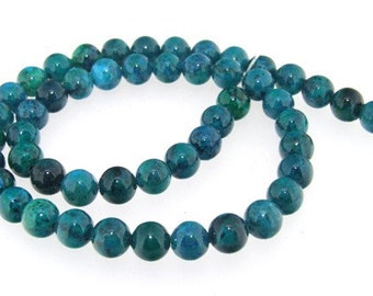 Round Charm Green Jasper 8mm Gemstone Strand