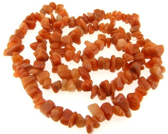 "Charm Nugget Red Jade Gemstone Beads Strand 32"""
