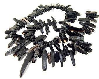 Big Charm Branch Black Agate Gemstone Beads One Strand