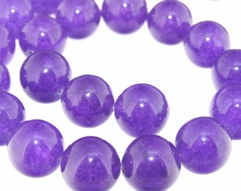 Charm Big Purple Jade 16mm Beads Gemstone Strand 15""