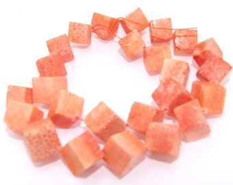 Orange Coral Beads Gemstone Strand 12mm