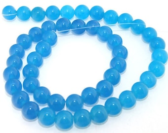 Blue Jade Round Beads Gemstsone Strand 8mm Strand