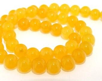 Round Yellow Jade 6mm Beads Gemstone One Strand