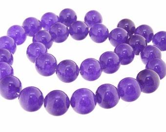 "Charm 12mm Purple Jade as Amethyst Color  Beads Gemstone One Strand  12mm 15"""