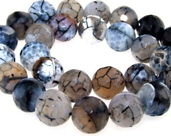 Faceted White Black Agate 16mm Charm Round Beads Gemstone One Strand
