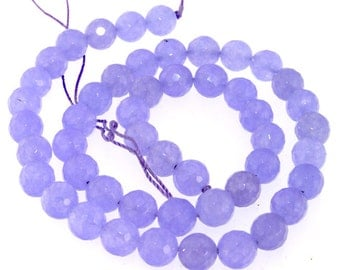 Faceted Purple Jade 7mm Round Gemstone Beads Strand 14.5""