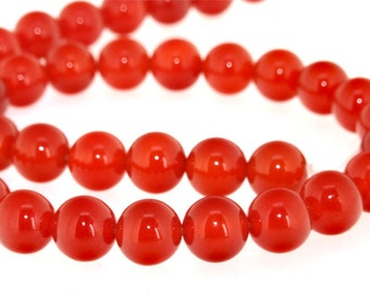 Luster Round Red Agate 10mm Beads Gemstone Strand