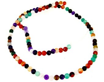 "Charm Rainbow Agate 4mm Round Beads Gemstone One Strand  12"""