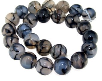 Charm Big Dragon Agate 14mm Round Beads Gemstone One Strand 15""