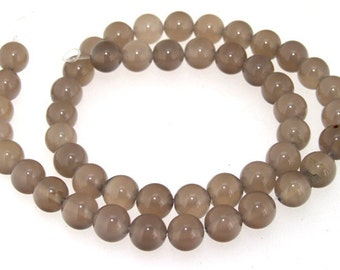 "Charm  Round Grey Agate 8mm Round Beads Gemstone One Strand 15"""