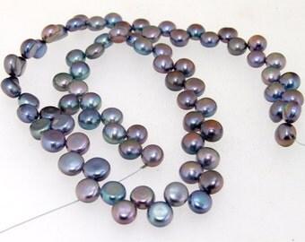 Strand Black Flat Freshwater Cultured Pearl Gemstone Beads 7mm
