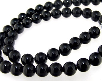 Round Black Agate Gemstone Beads 8mm One Strand
