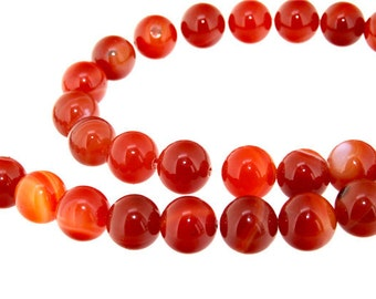 Round Red Agate Gemstone Beads 12mm One Strand