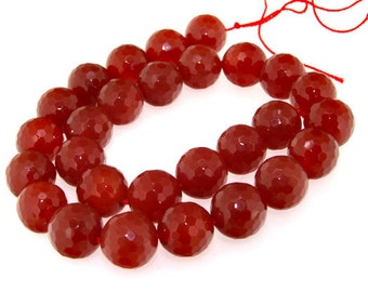 Faceted Red Agate Gemstone Beads 12mm One Strand