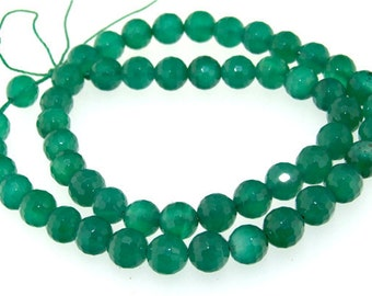 Faceted Green Agate Gemstone Beads 8mm One Strand