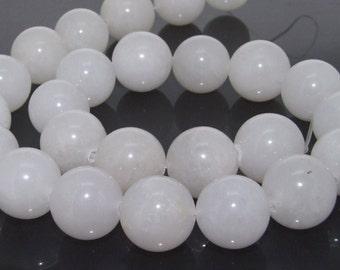 16mm White Round Jade Gemstone  Beads One Strand