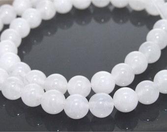 8mm White Round Jade Gemstone  Beads One Strand