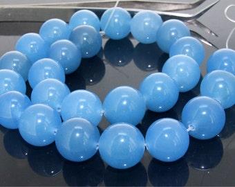 16mm Blue Round Jade Gemstone  Beads One Strand