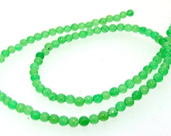 4mm Green Jade Gemstone Beads 2Strands