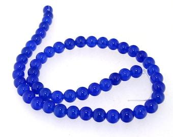 Round Blue 8MM Jade Gemstone Beads One Strand