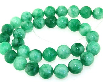 Round Green 12MM Jade Gemstone Beads One Strands