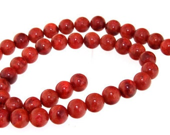 Strand  Red Sponge Coral Gemstone Beads 8mm 15""