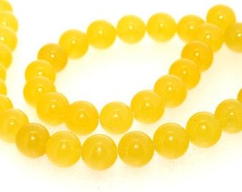 Round Yellow Jade Stone Quartz  10mm Gemstone Beads One Strand 15inch