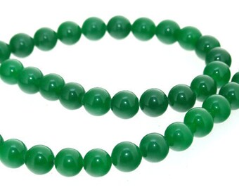 Round Green Jade Stone Quartz  8mm Gemstone Beads One Strand 15inch