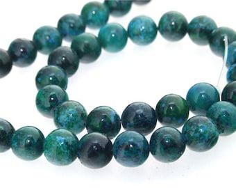 Round Green Jasper  Beads Gemstone 10mm One Strand