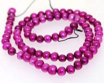 "Purple Freshwater Cultured Pearl Beads Gemstone 5mm One Strand 15"""