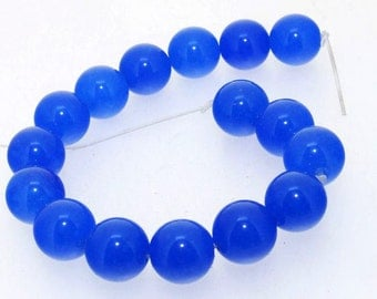 12mm Blue Jade Round 16Beads Gemstone one Strand