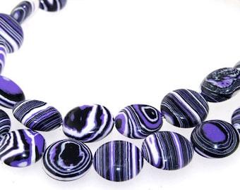 12mm Coin Purple Veins Malachite Jasper Gemstone Beads One Strand