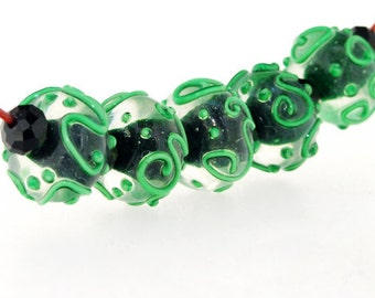 Charm Hole 2mm 5Beads Lampwork beads Green Twist  Handmade jewelry designs  European Style