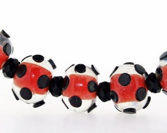 Hole 3mm 5Beads Lampwork beads  red lampwork beads Handmade jewelry designs  European Style