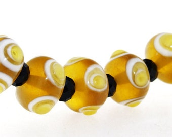 Charm Hole 3mm 5Beads Lampwork beads amber color Handmade jewelry designs  European Style