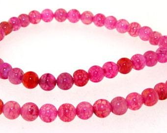 Charm Round Dragon Peach Candy Agate 6mm Gemstone Beads One Strand
