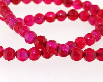 Charm Faceted Candy Agate 6mm Gemstone Beads One Strand