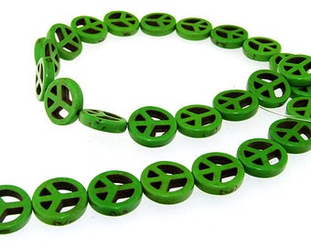 Peace  Green Turquoise Gemstone Beads 15mm One Strand