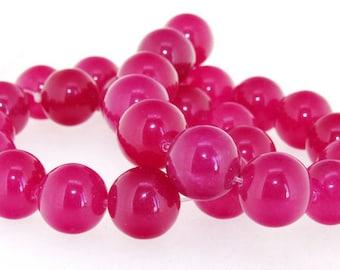 """Roseo Jade Round 14mm Gemstone Beads One Strand 15"""""""