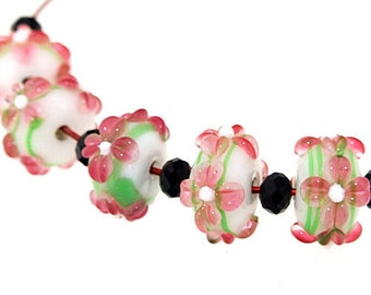 Hole 3mm 5Beads  Flower Lampwork bead Candy 4 petals Flowers Handmade jewelry designs European Style