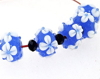 Hole 3mm 5Beads White Flower Blue Lampwork bead Candy 4 petals Flowers Handmade jewelry designs European Style