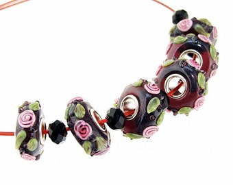 Big Hole 5mm 6Beads Flower Lampwork bead 15mm   Handmade jewelry designs  European Style