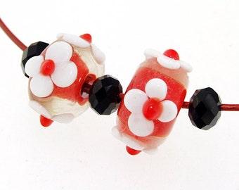 Elegant  Hole 3mm 5Beads White Flower red  Lampwork bead Rondelle Lampwork Candy 4 petals Flowers Handmade jewelry designs European Style