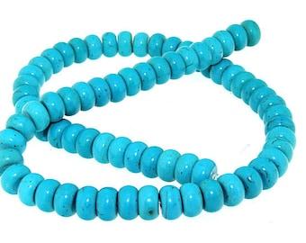 "Full pure Turquoise HeiShi Turquoise Gemstone Beads 10mm One Strand 16"""