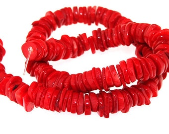 One Strand Heishi Red Coral Gemstone Beads Strand 10mm 15.5inch