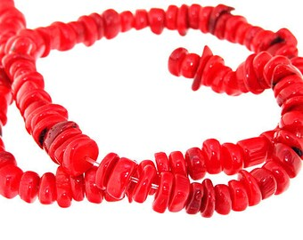 One Strand nugget Red Coral Gemstone Beads Strand 6mm 15.5inch